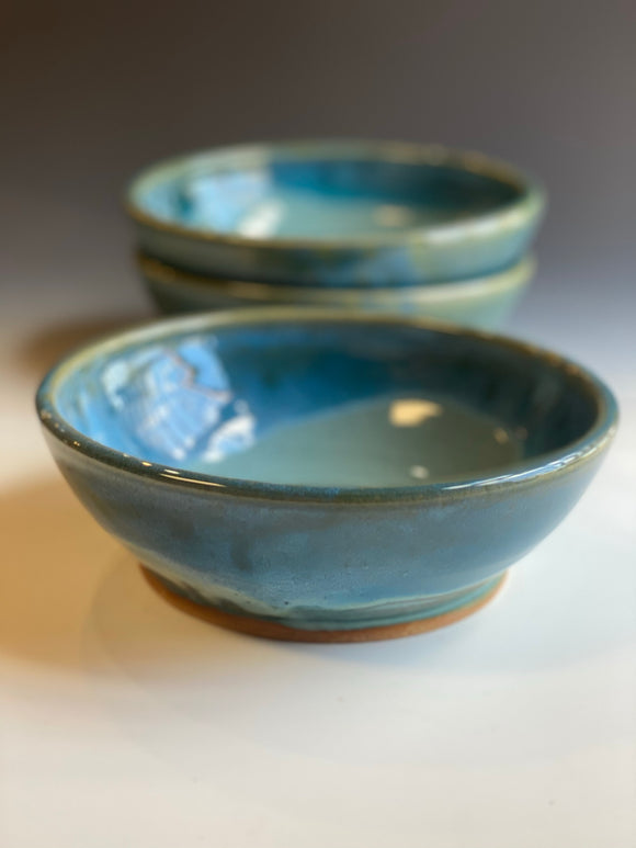 Wide Pasta  Bowls in Turquoise Glaze (set of 4)