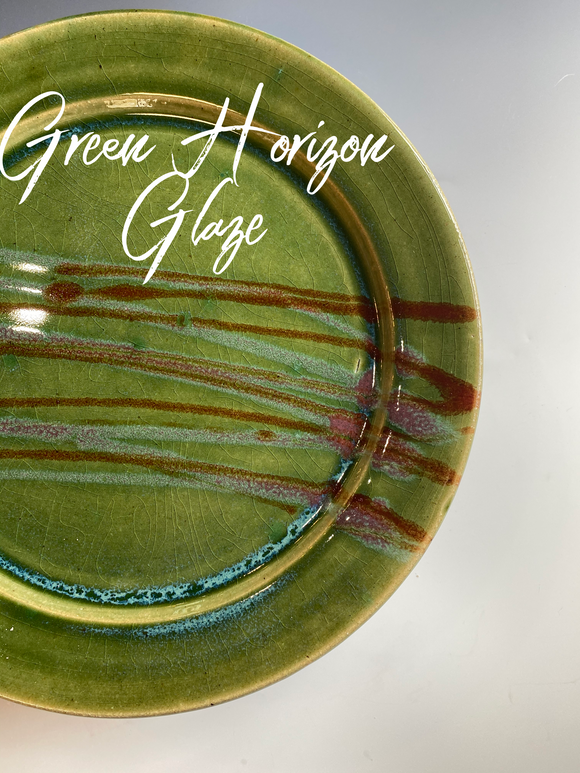 Wide Pasta  Bowls in Green Horizon Glaze (set of 4)