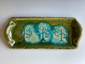 "12"" Tray with Tree Impressed Design & Melted Glass"