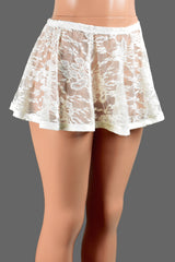 Ivory lace and elastic flared skirt