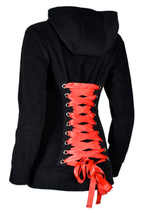 Black Fleece Corset Hoodie with Red Lacing