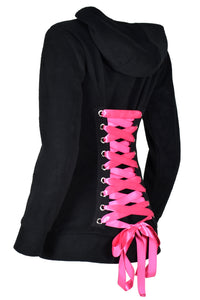 Black Fleece Corset Hoodie with Hot Pink Lacing