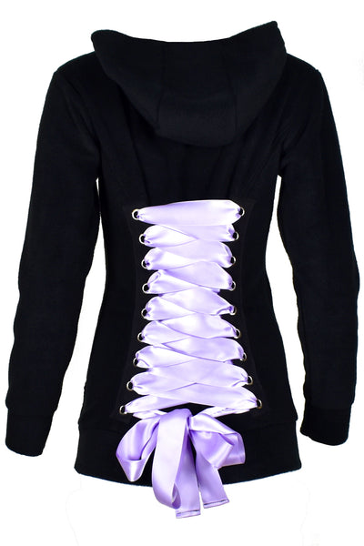 Black Fleece Corset Hoodie with Lavender Lacing