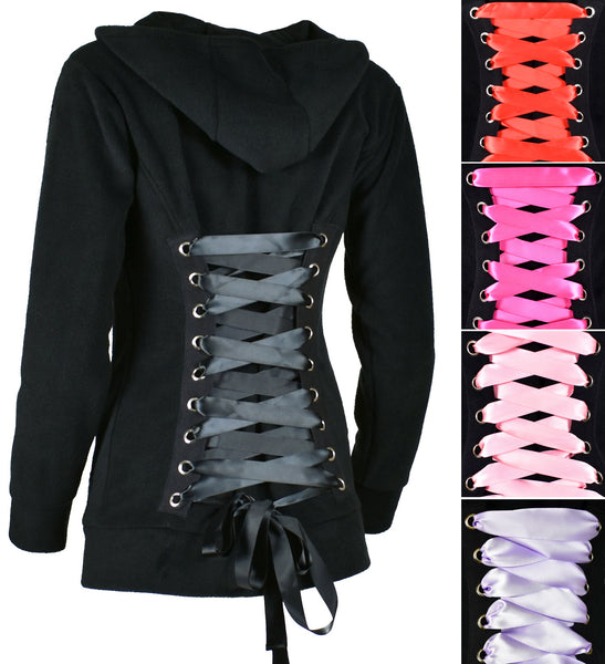 Black Fleece Corset Hoodie with Pastel Pink Lacing