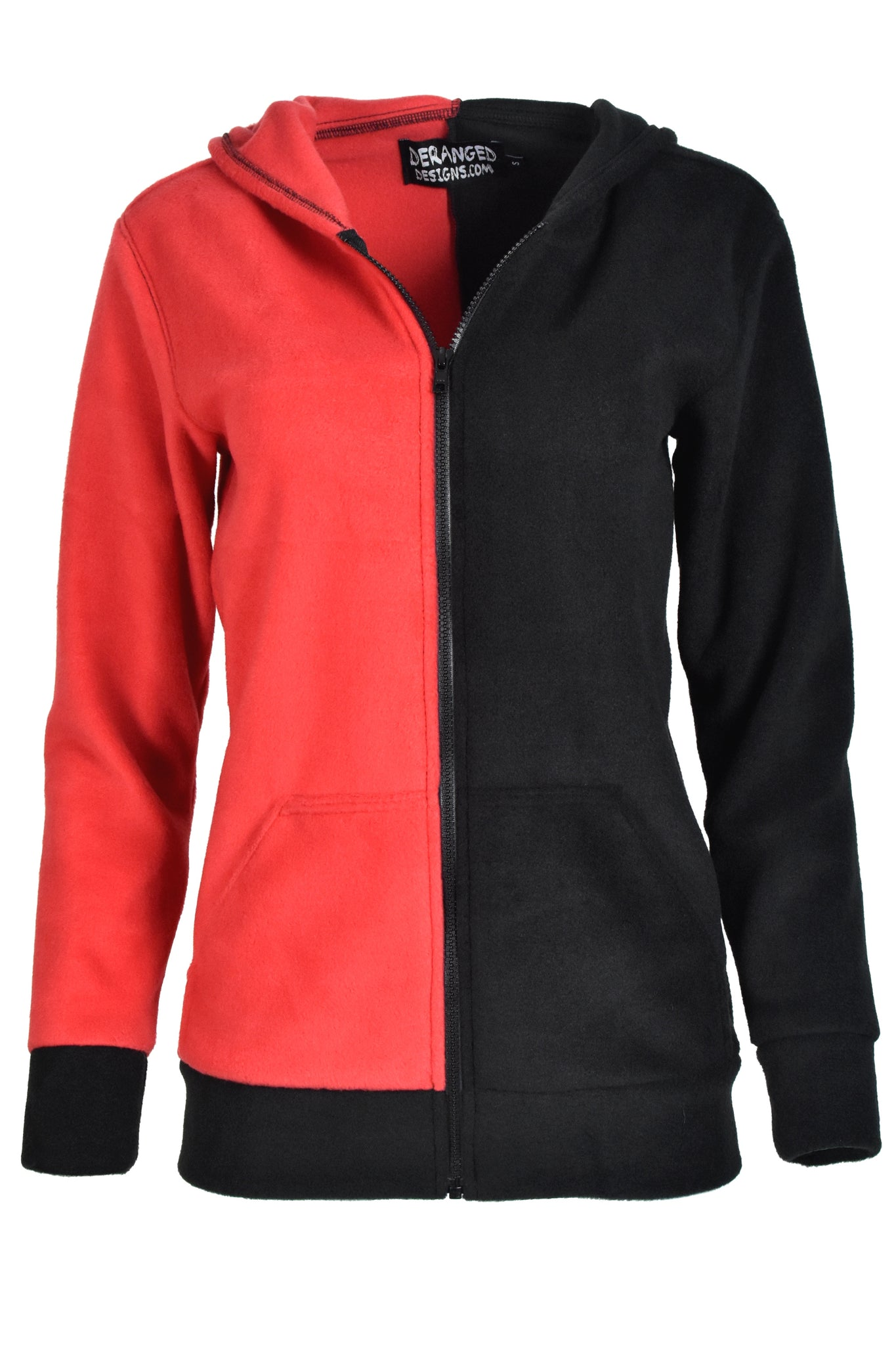 Red and Black Fleece Harley Quinn Hoodie
