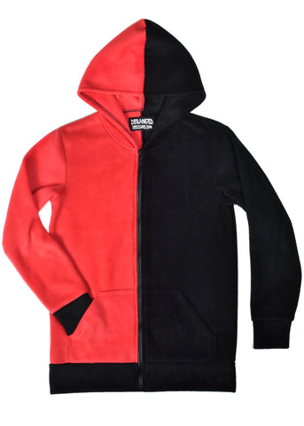 Men's Red and Black Fleece Hoodie