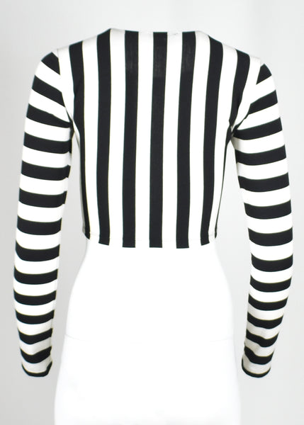 Black and White Striped Cropped Shirt