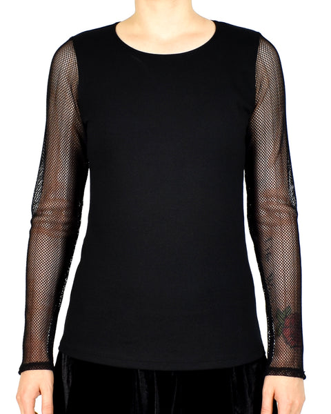Black Fishnet Sleeve Shirt