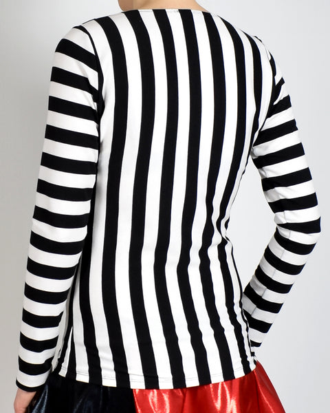 Black and White Striped Long Sleeve Shirt (also available in short sleeve)