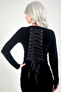 Black Velvet Cropped Lace-Up Sweater (Updated design!)