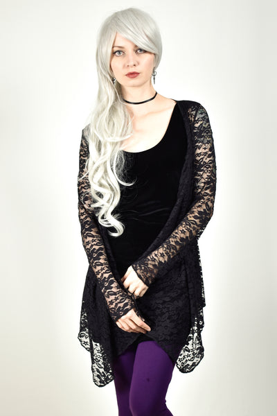 Black Lace Drape Front Sweater