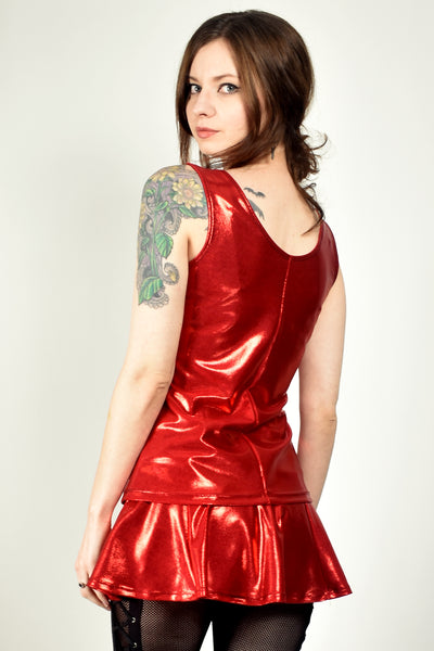 Shiny Red Metallic Tank Top