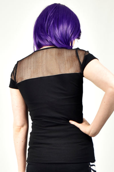 Black Fishnet and Cotton Sweetheart Neckline Shirt