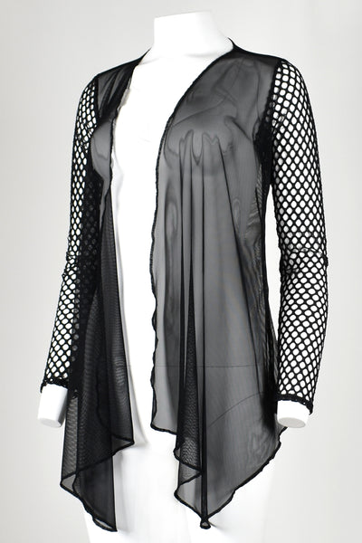 Mesh and Fishnet Drape Front Sweater