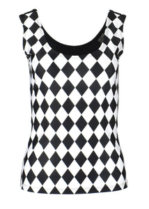Black and White Diamond Print Tank Top