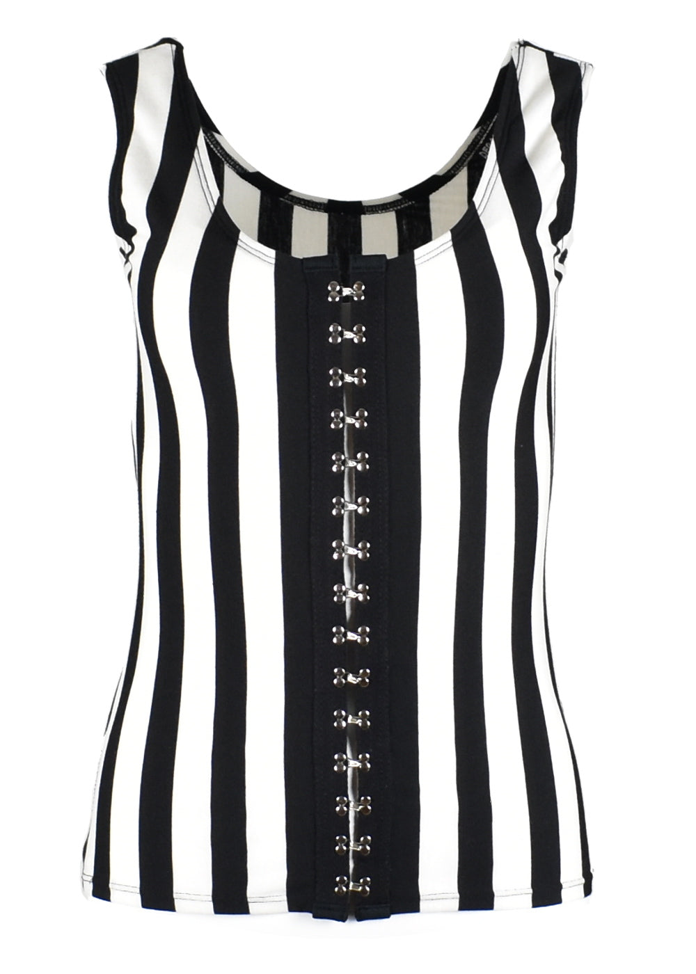 Black and White Striped Hook and Eye Front Tank Top