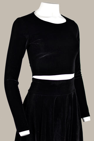 Black Velvet Cropped Long Sleeve Sweater