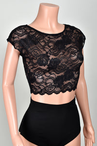 Black Stretch Lace Crop Top