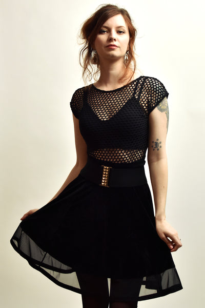 Black Wide Net Fishnet Crop Top