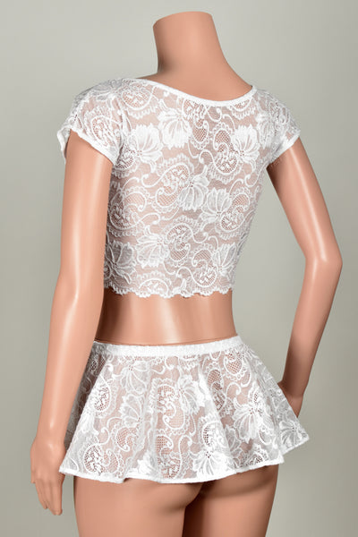 White Stretch Lace Crop Top