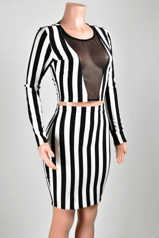 Mesh Front Black and White Striped Cropped Shirt