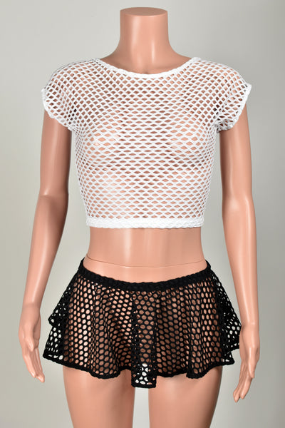 White Wide Net Fishnet Crop Top