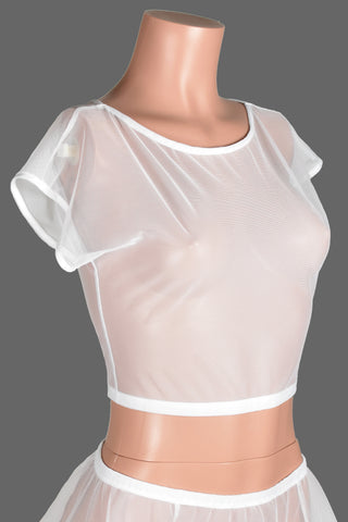 White Stretch Mesh Crop Top