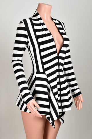 Black and White Striped Drape Front Sweater (zipper closure)