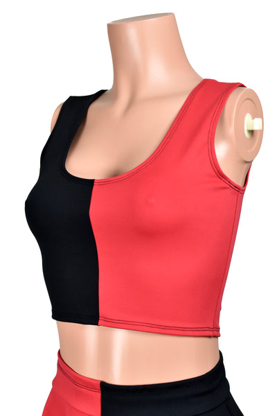 Black and Red Cropped Tank Top