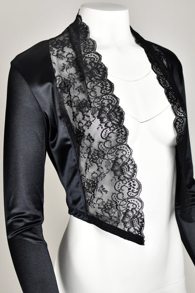 Black Satin and Lace Open Front Cropped Sweater