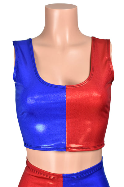 Metallic Blue and Red Cropped Tank Top