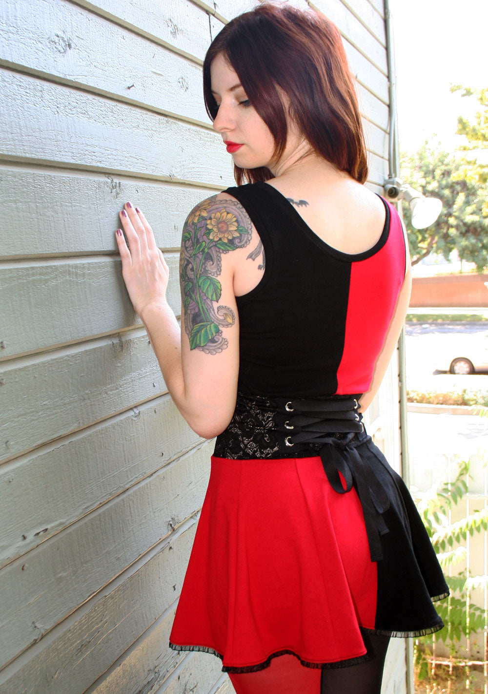 Cotton Red and Black Lace-Waist Mini Dress