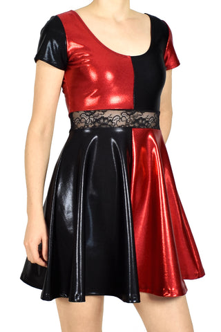 Shiny Black and Red Metallic Skater Dress
