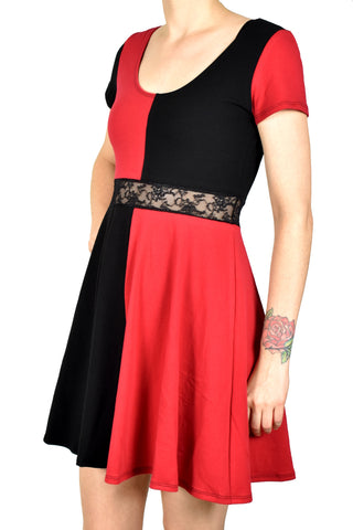 Red and Black Cotton Short Sleeve Harley Quinn Dress