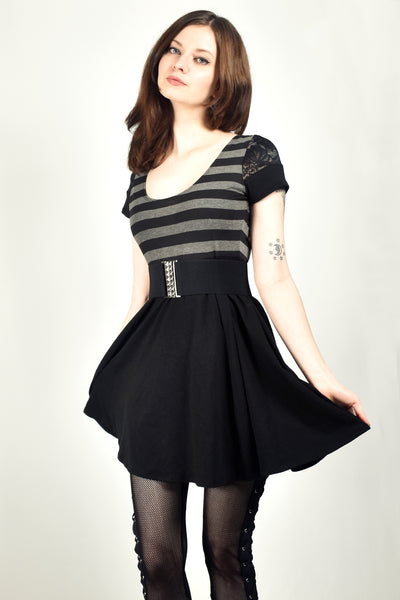 Black and Gray Striped Lace Sleeve Babydoll Mini Dress