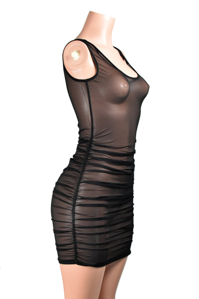 Ruched Black Mesh Bodycon Mini Dress