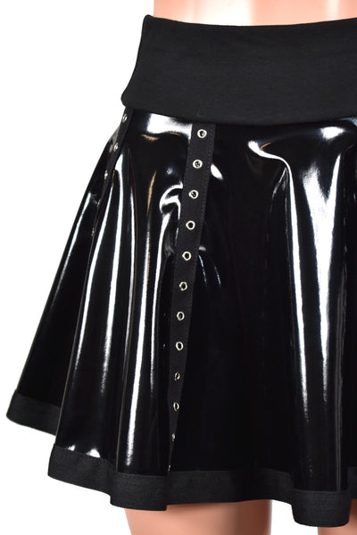 High-Waisted Black Stretch Vinyl Grommet Skirt