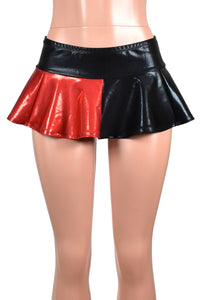 Shiny Black and Red Micro Mini Skirt