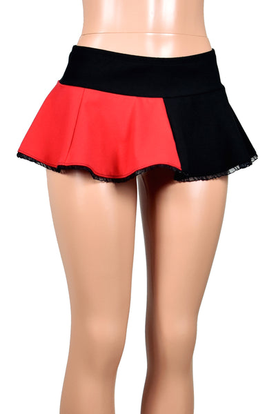 Red and Black Cotton Harley Quinn Micro Mini Skirt