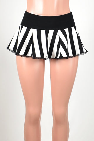 Black and White Vertical Striped Micro Mini Skirt