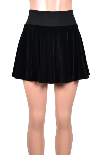 Black Stretch Velvet Flared Skirt
