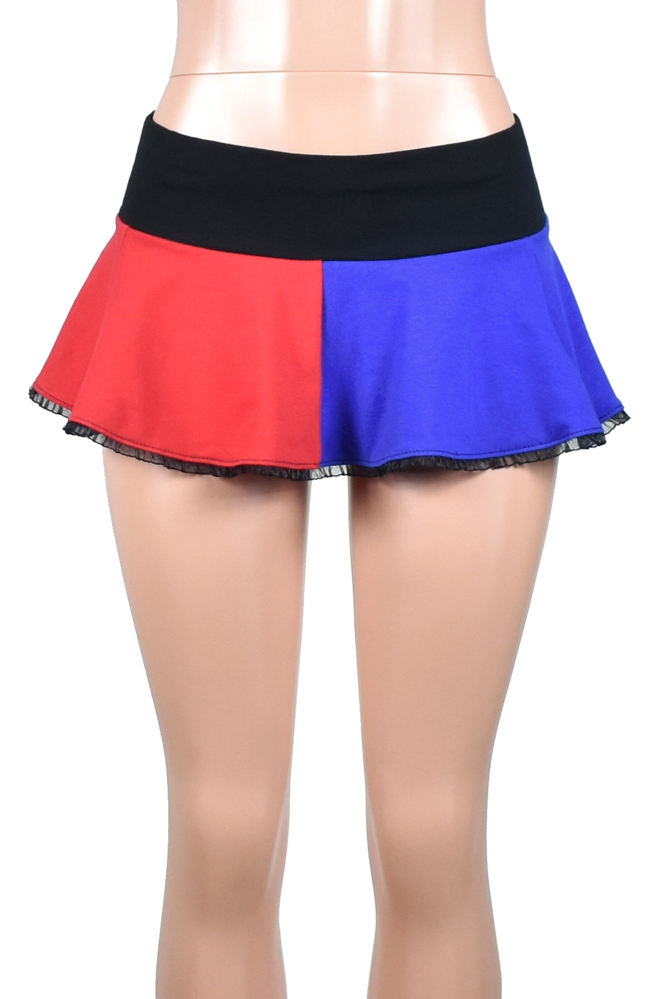 Red and Blue Cotton Harley Quinn Micro Mini Skirt