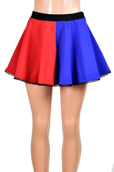 Red and Blue Cotton Harley Quinn Circle Skirt