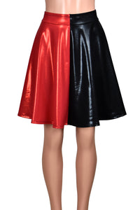 Shiny Black and Red Flared Skirt (knee length, also available in Blue/Red)