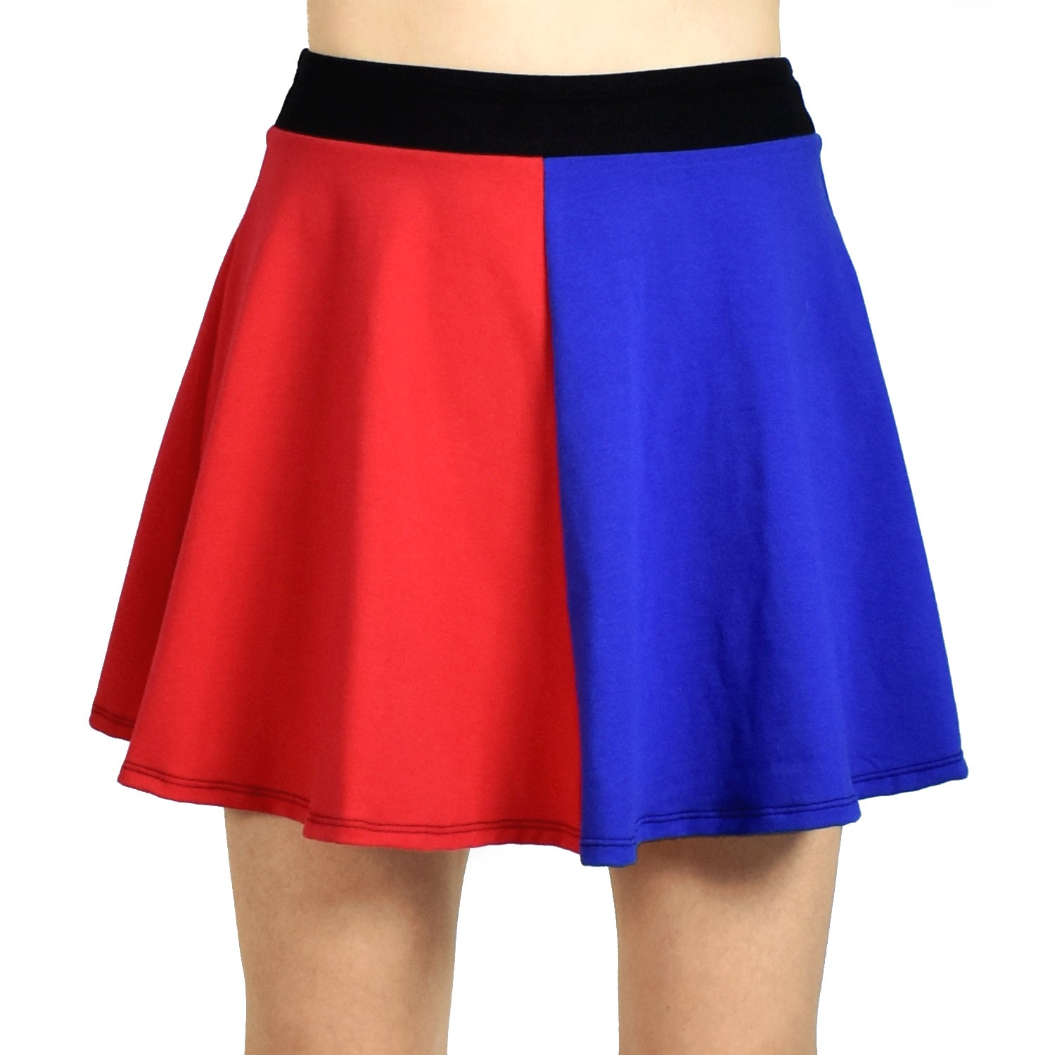 "Red and Blue Cotton Flared Skirt (16"" Length)"