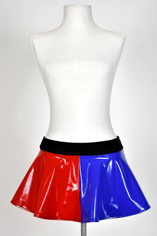 Blue and Red Stretch Vinyl Skirt (Four Length Options)