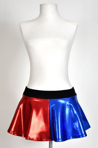 Shiny Blue and Red Flared Skirt (Four Length Options)