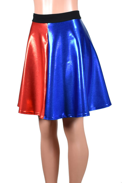 "Shiny Blue and Red Flared Skirt (20"" Length)"
