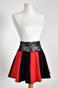 Black and Red Lace Waist Circle Skirt
