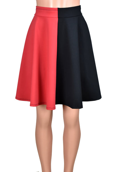 Black and Red Flared Skater Skirt (Knee Length)